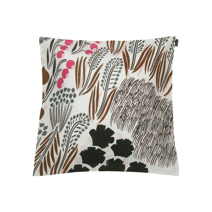 Letto cushion cover 50 x 50 cm, off-white / brown / green by Marimekko