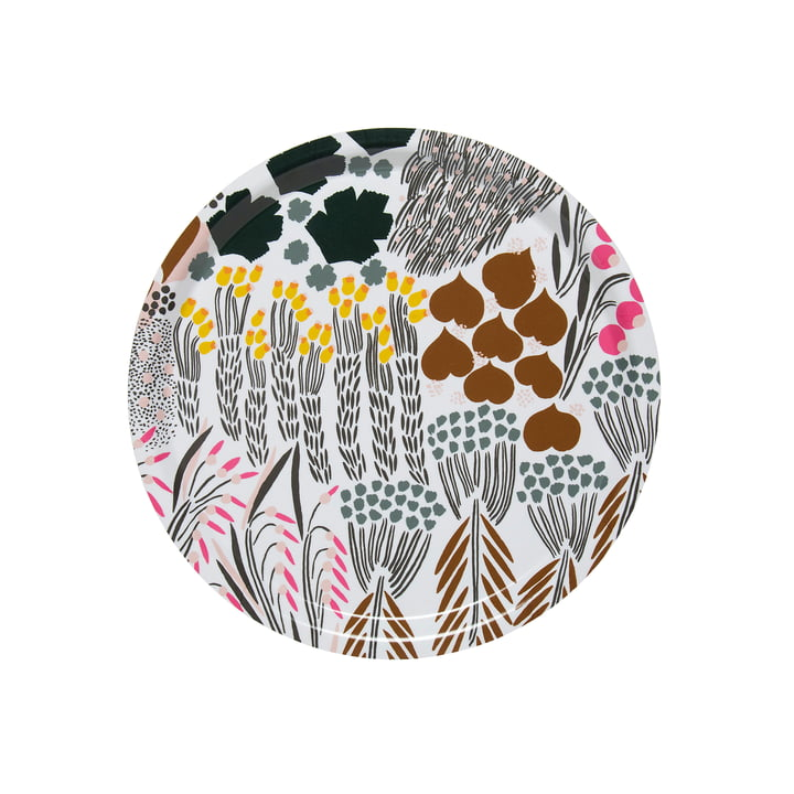 Letto tray round Ø 31 cm, white / green / brown by Marimekko