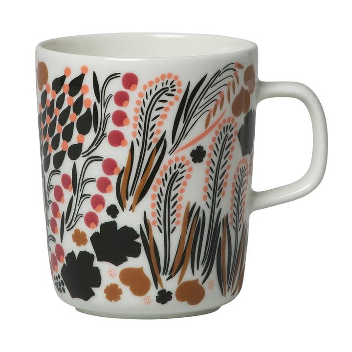 Letto mug with handle 250 ml, white / green / brown by Marimekko