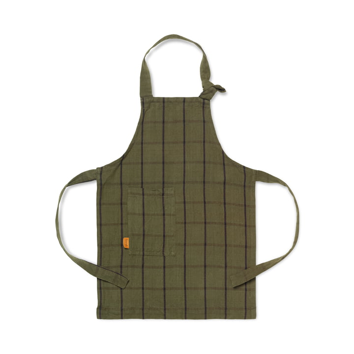 Hale kids kitchen apron, green / black by ferm Living