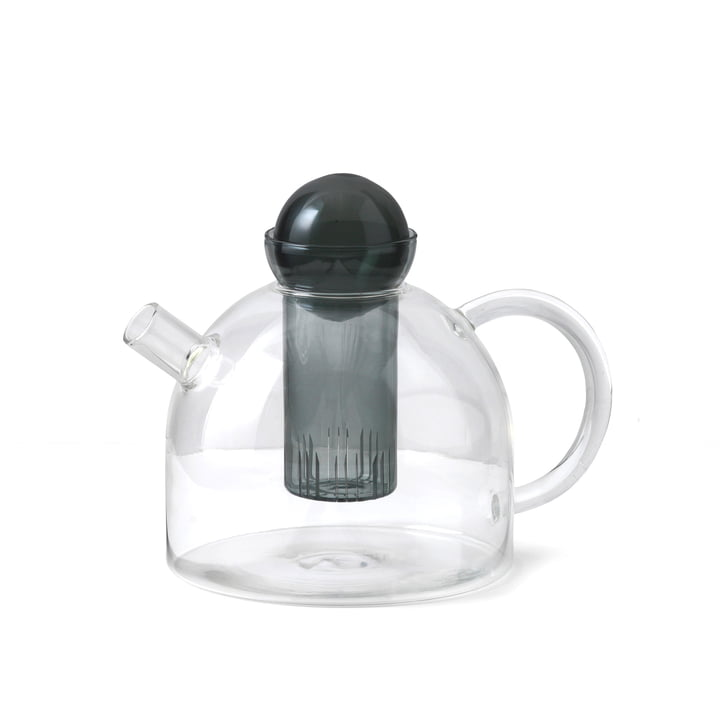 Still teapot 1.25 l by ferm Living in clear / smoke gray