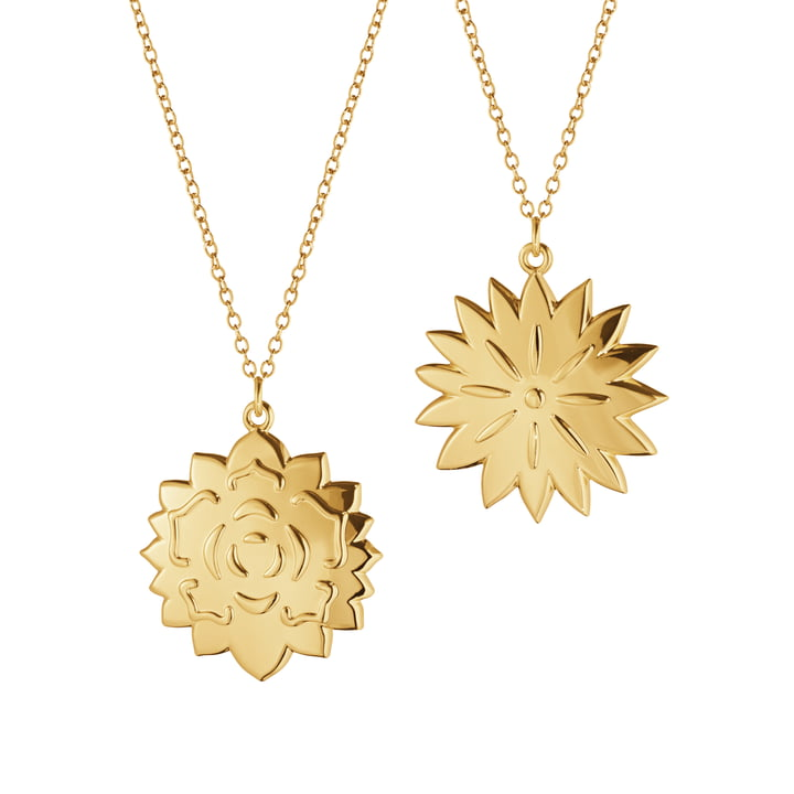 Ornament pendant Ice Dianthus & Rosette, gold by Georg Jensen .