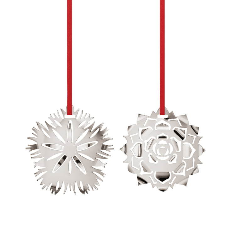 Holiday Ornament 2020 Ice Dianthus & Rosette, palladium by Georg Jensen .