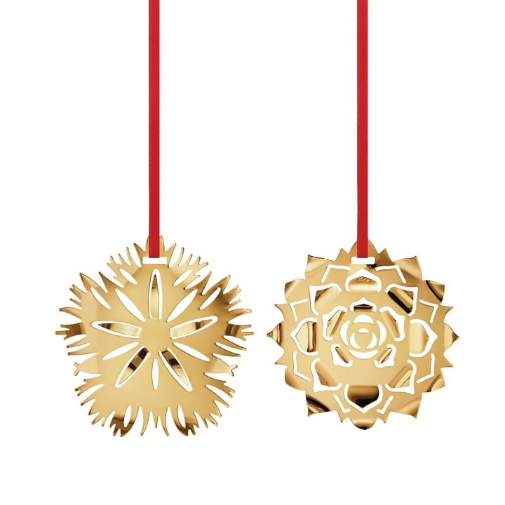 Holiday Ornament 2020 Ice Dianthus & Rosette, gold by Georg Jensen .