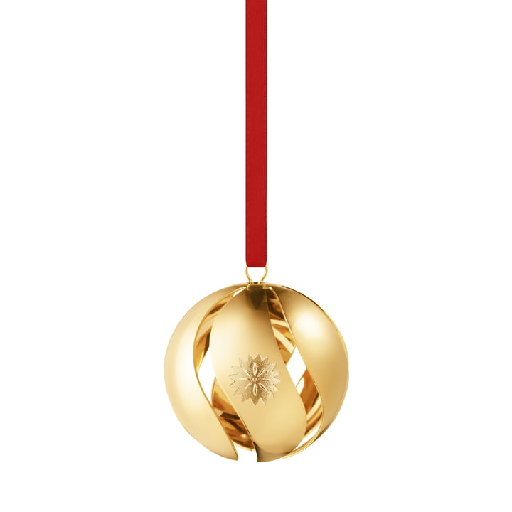 Christmas bauble 2020, gold by Georg Jensen .