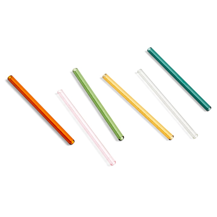 Sip cocktail drinking straws H 14 cm by Hay in multi (set of 6)