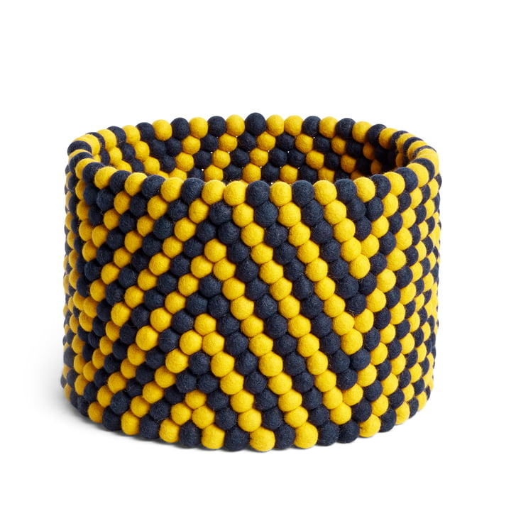 Bead storage basket, Ø 40 x H 27 cm, herringbone pattern yellow by Hay .
