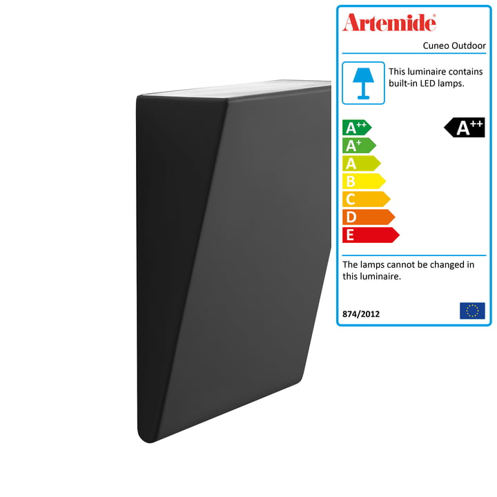 Cuneo outdoor LED wall light, anthracite by Artemide