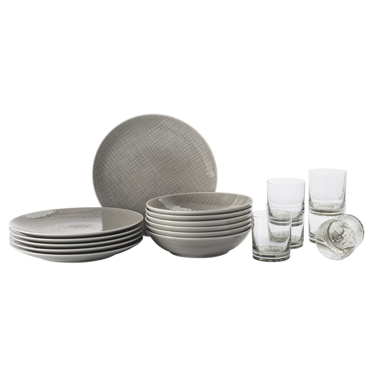 Mesh Colors Mountain table set, plate + glass (set of 18) by Rosenthal