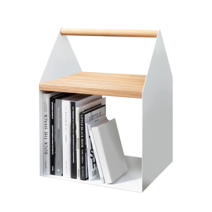White side table with book compartment