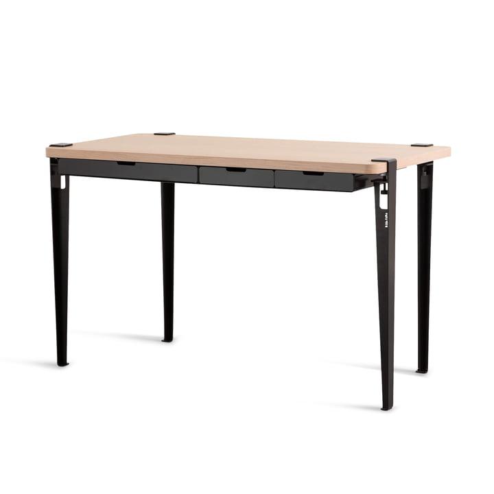 The MONOCHROME desk with drawers, oak / graphite black by TipToe