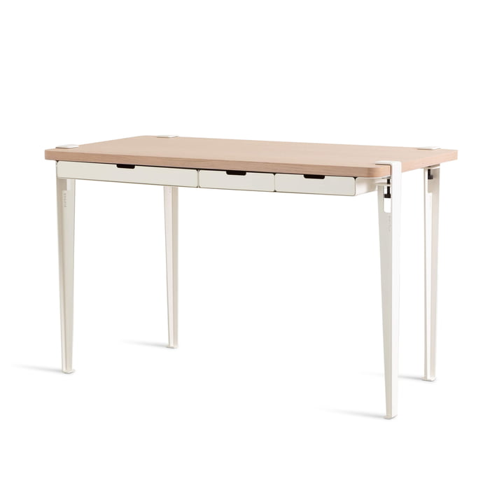 The MONOCHROME desk with drawers, oak / cloud white by TipToe