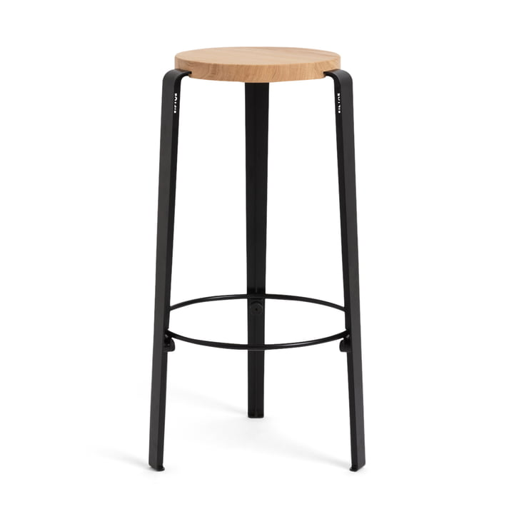 The BIG LOU bar stool, oak / graphite black by TipToe
