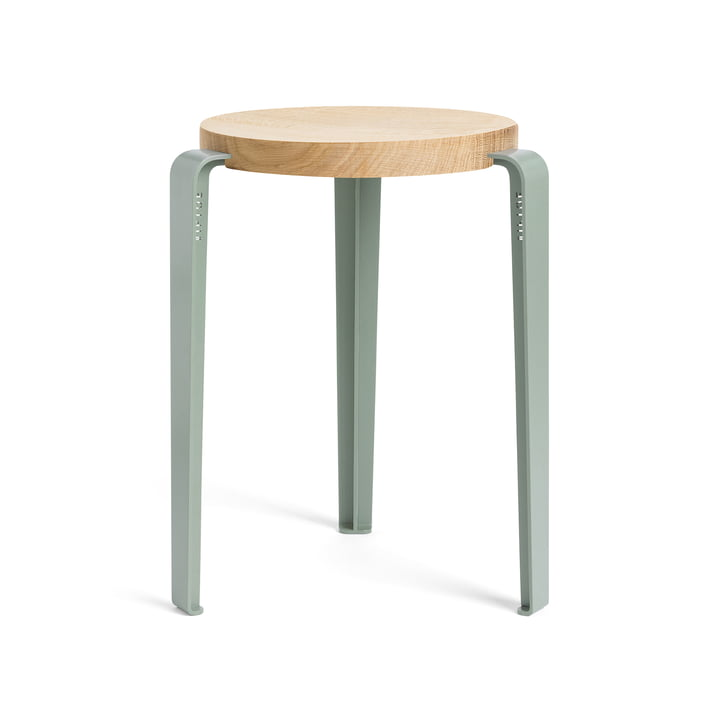 The LOU stool, natural oak / eucalyptus gray by TipToe