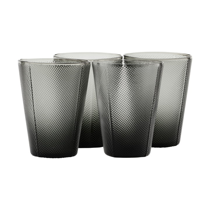 The Milo glass, smoke gray (set of 4) by House Doctor