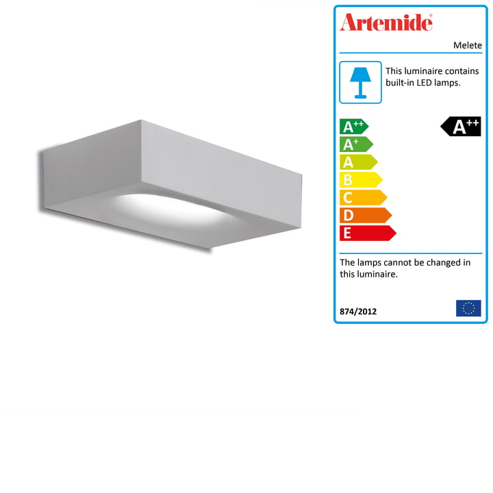Melete LED wall light, 2700K / white from Artemide