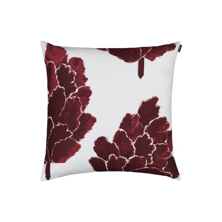 The Käpykukka pillowcase 50 x 50 cm, light gray / wine red by Marimekko