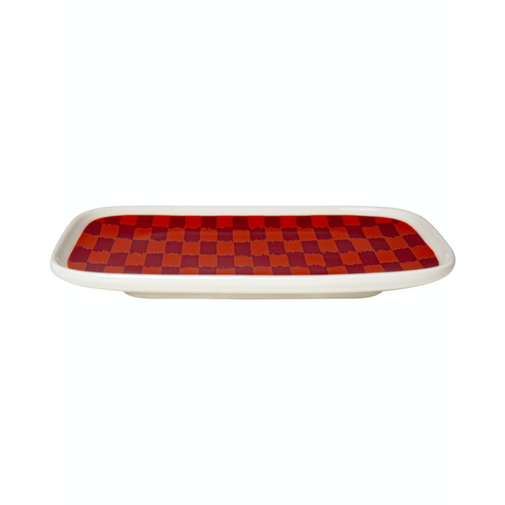 The Piekana serving plate 15 x 12 cm, dark red / orange from Marimekko