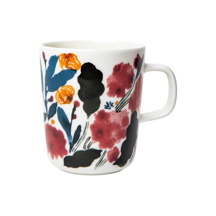 The Hyhmä mug with handle 250 ml, white / blue / red by Marimekko