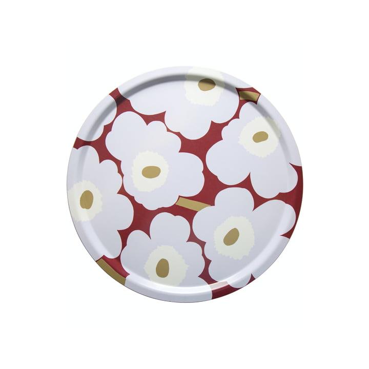 The Pieni Unikko tray Ø 46 cm, dark red / light grey / off-white by Marimekko