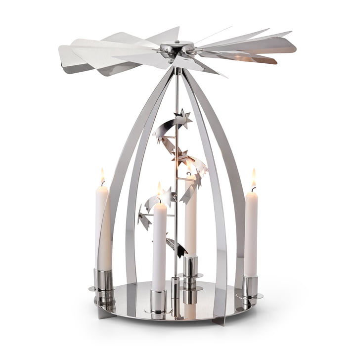 The Silent Night Christmas carousel, polished stainless steel by Philippi