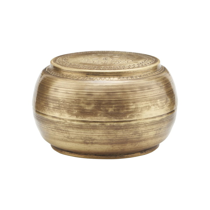 Storage with lid Linna, Ø 12 cm, brass by House Doctor