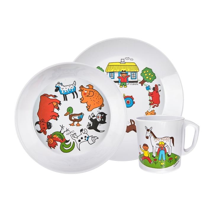 The children's tableware set farm, white (3-piece) from Rosti
