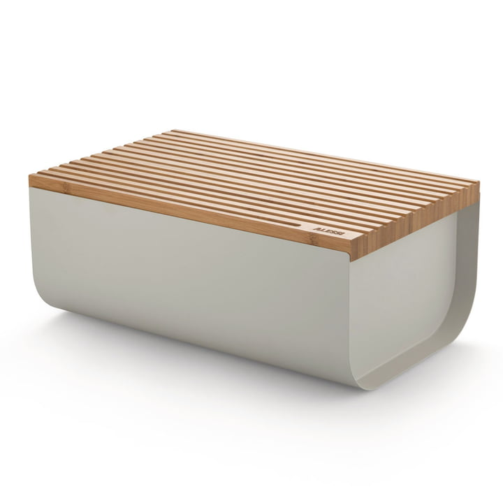 The Mattina bread box with cutting board, bamboo / grey by Alessi