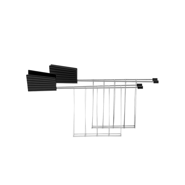 The toaster tongs for plissé toaster, black (set of 2) from Alessi