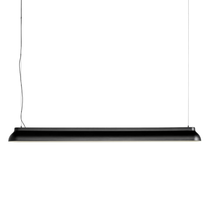 The PC Linear rod pendant light, soft black from Hay