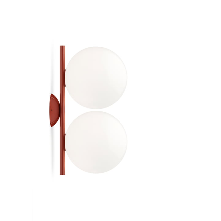 IC C / W1 DOUBLE wall and ceiling lamp, burgundy red by Flos