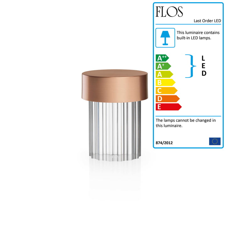 Last Order LED table lamp, copper / fluted by Flos