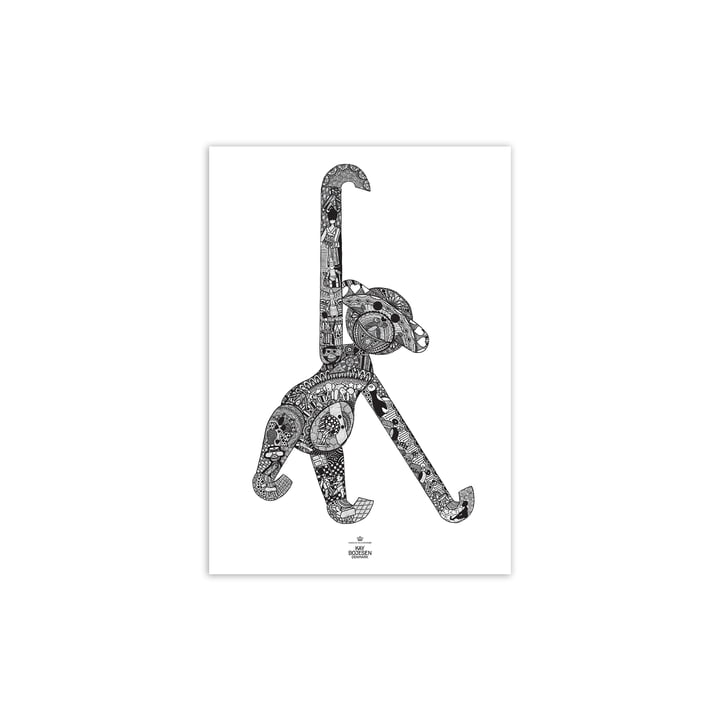 Monkey Poster, 30 x 40 cm, black / white from Kay Bojesen