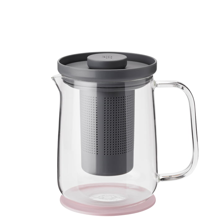 Brew-It Tea maker 0,7 l, transparent / grey / pink from Rig-Tig by Stelton
