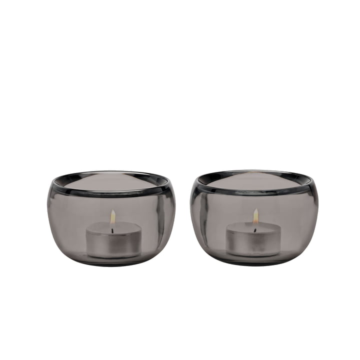 The tea light Ora holders, (set smoke of 2) from Stelton
