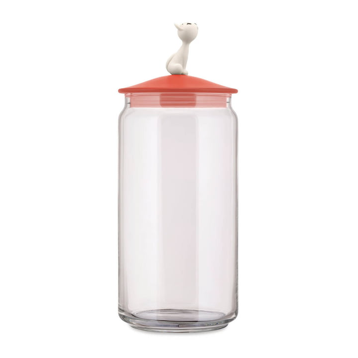 The Miò container for cat food, red-orange from Alessi