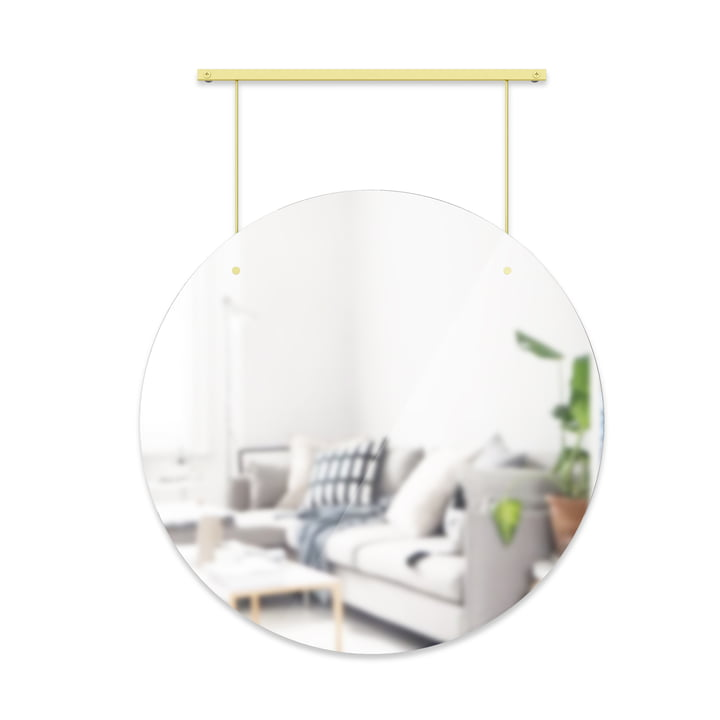 The Exhibit wall mirror from Umbra in brass