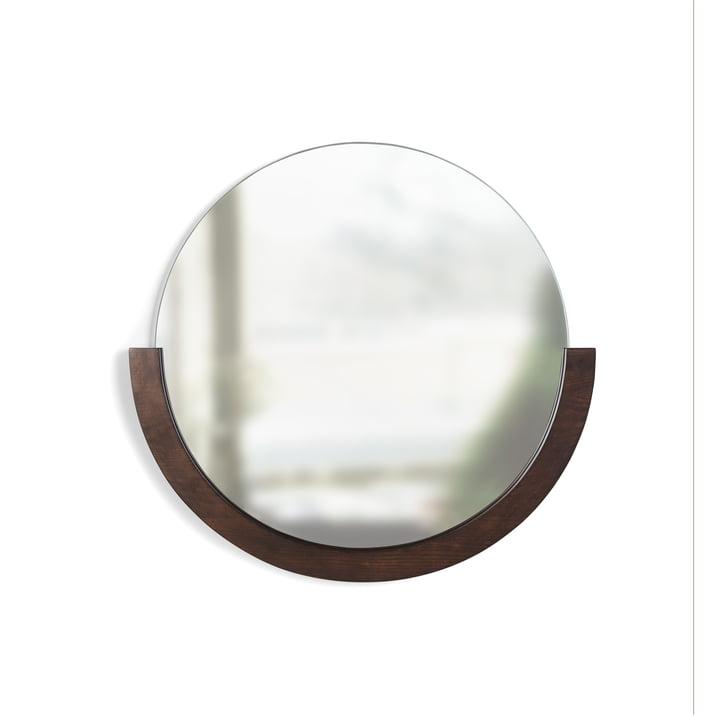 The Mira wall mirror from Umbra in walnut