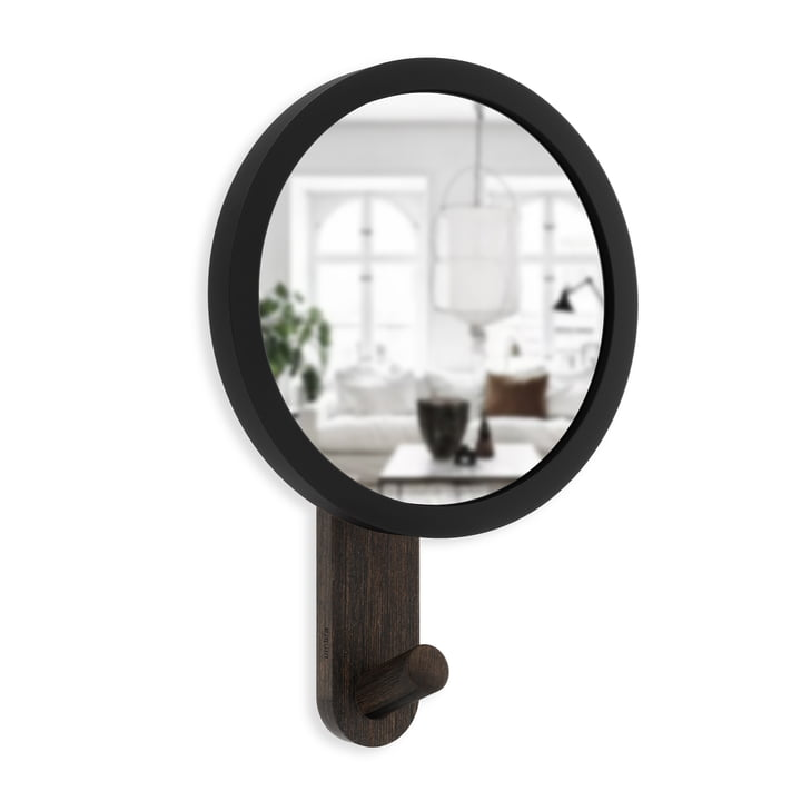The Hub wall hook with mirror from Umbra in black / walnut