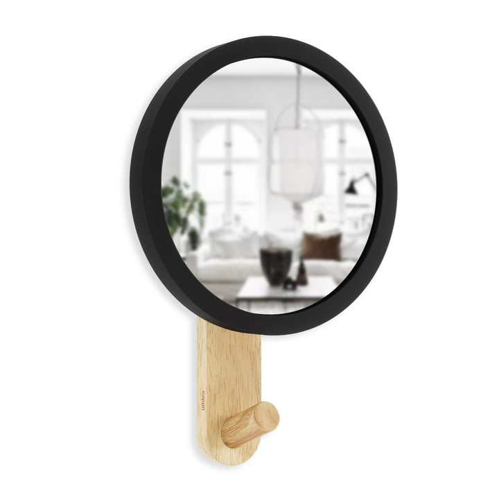 The Hub wall hook with mirror from Umbra in black / natural