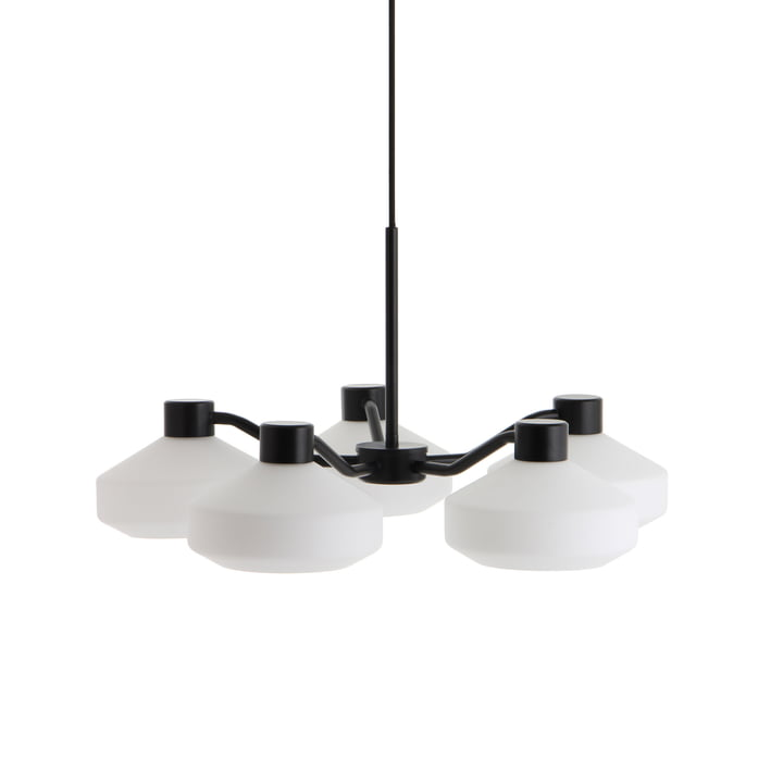 The Mayor chandelier 5-armed from Frandsen in black matt / opal white