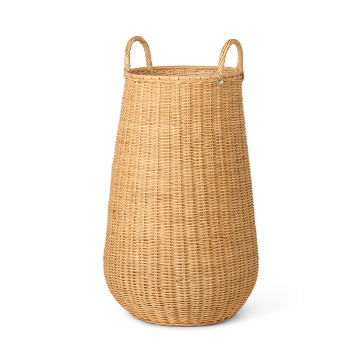 The Braided rattan laundry basket from ferm Living in natural