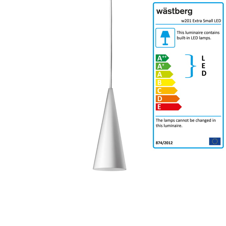 The w201 Extra Small LED pendant light S1 from Wästberg in white