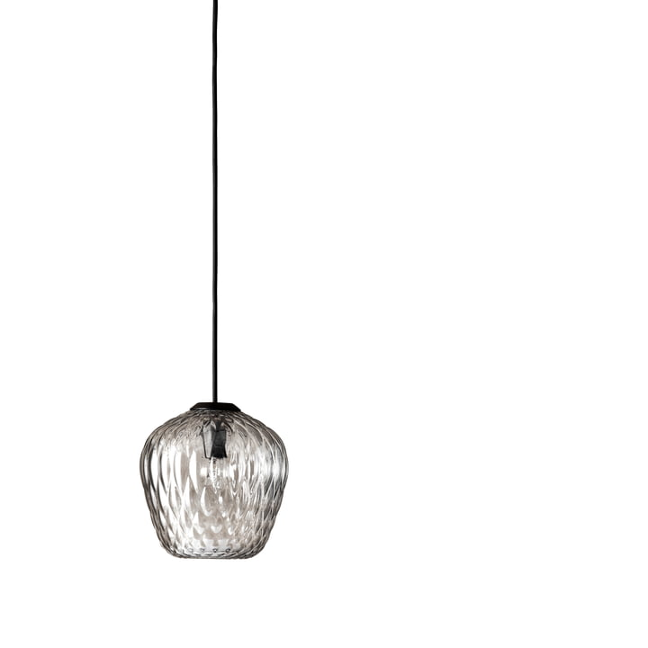Blown SW4 pendant light from & Tradition in silver / cable black