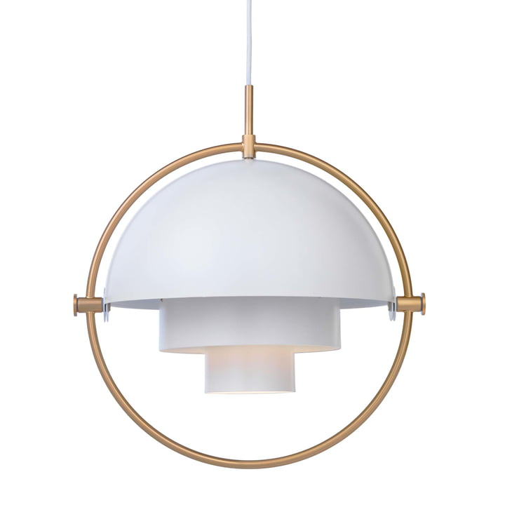Multi-Lite Pendant lamp Ø 36 cm from Gubi in brass / white