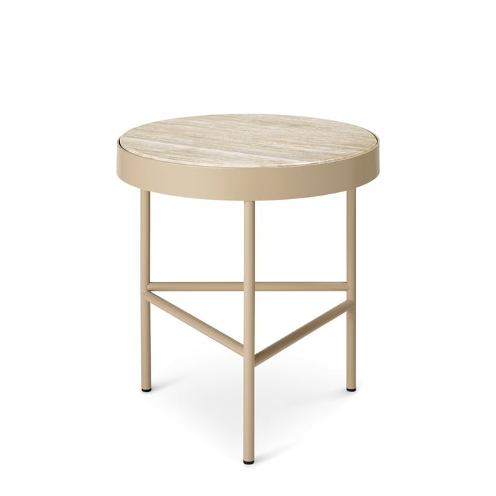The small Travertine coffee table from ferm Living in cashmere