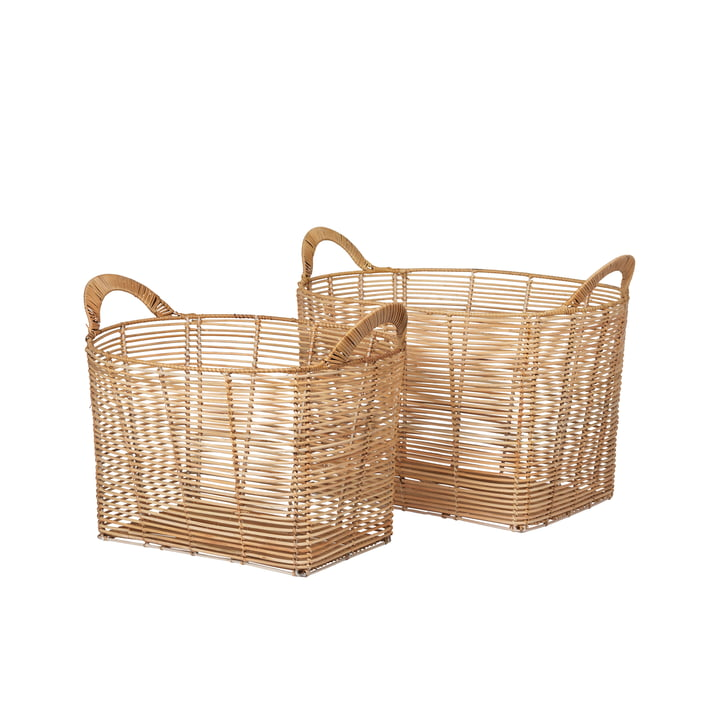 The square safi rattan baskets from Broste Copenhagen , nature
