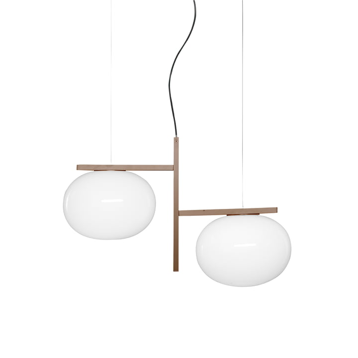Alba pendant lamp 468, opal glass / brass from Oluce