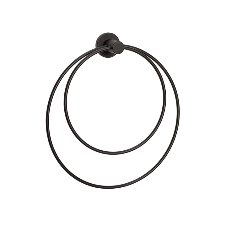 Towel rail round, black from Hübsch Interior