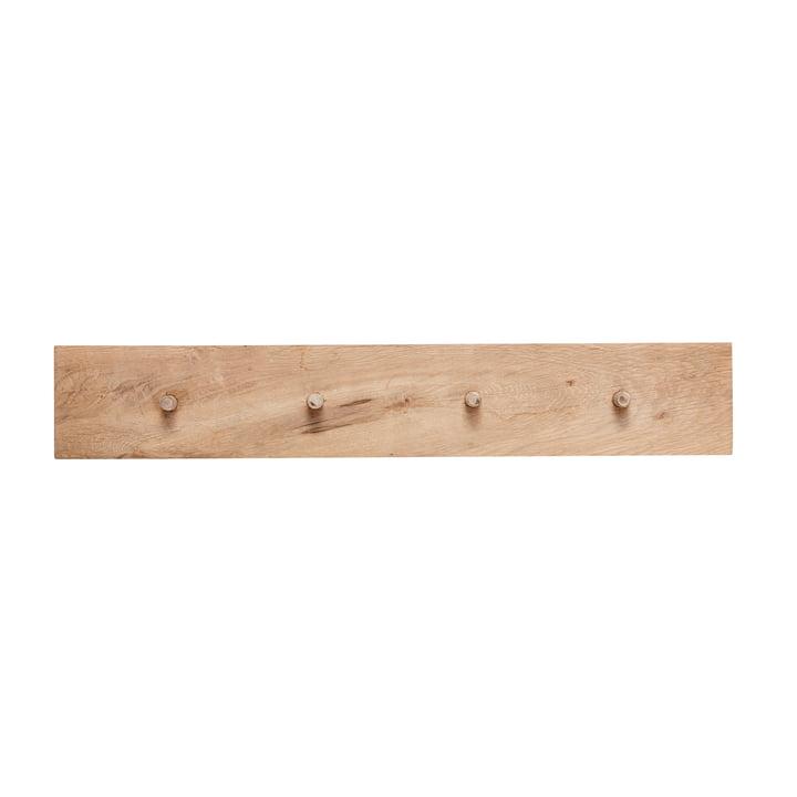 Hook rail with 4 hooks, oak, natural by Hübsch Interior